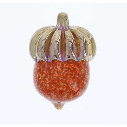 Vessel Glass Handblown Acorn Paperweight- Ivory Orange Wendell August