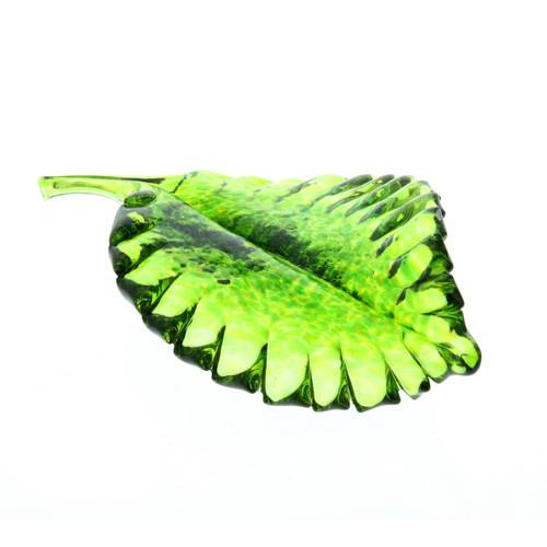Vessel Glass Handblown Leaf - Green Wendell August