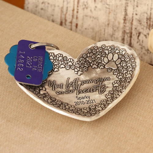 Pet Remembrance Heart Trinket Tray Wendell August