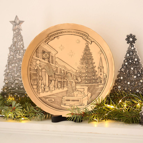 2021 Annual Christmas Plate- An American Christmas on Main Street Bronze Wendell August