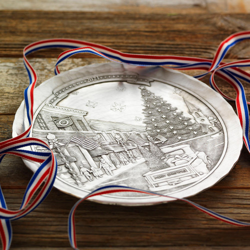 2021 Annual Christmas Plate- An American Christmas on Main Street Pewter Wendell August