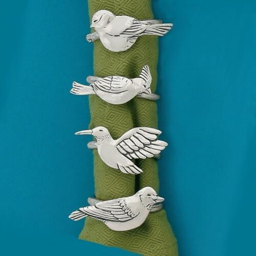 Birds Napkin Ring Set Wendell August