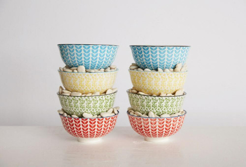 Hand-Stamped Stoneware Bowls - Set of 4 Multicolor Blue, Pink, Yellow, Green Wendell August