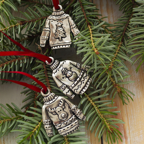 Ugly Sweater 3-Piece Ornament Set Wendell August