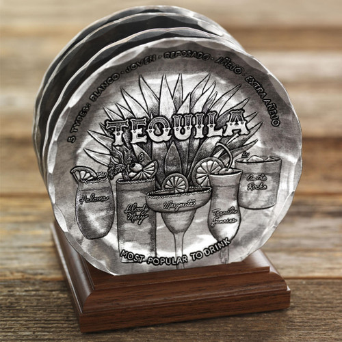 Happy Hour 4-Piece Coaster Set with Caddy Wendell August