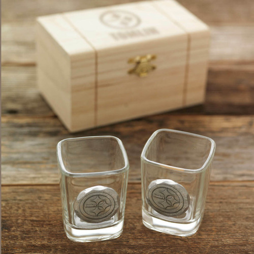 Pittsburgh Steelers 2-Piece Shot Glass Set and Box Aluminum Wendell August