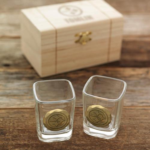 Pittsburgh Steelers 2-Piece Shot Glass Set and Box (Bronze)