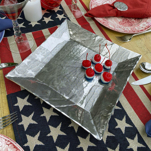 American Flag Large Square Tray Wendell August