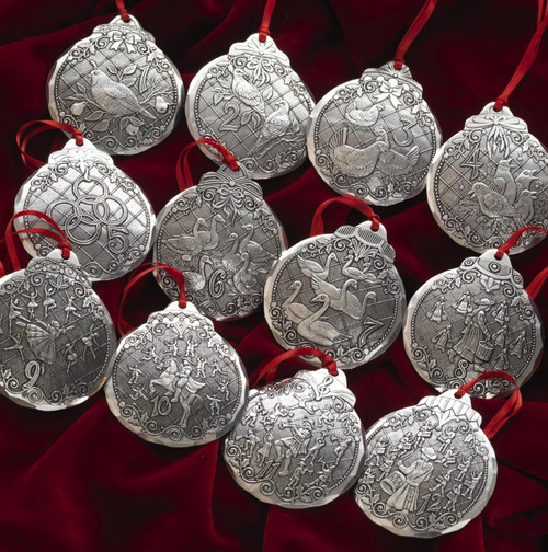 12 Days of Christmas 12-Piece Ornament Set Wendell August