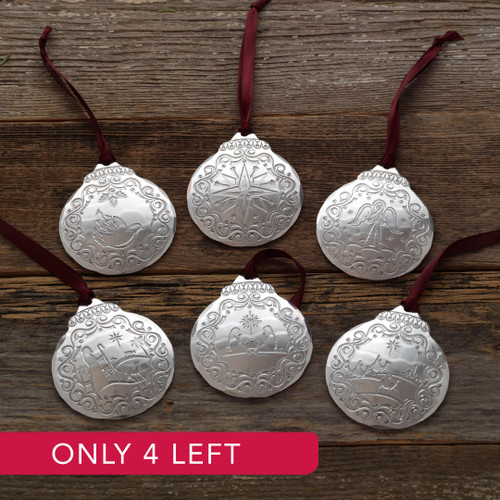 Limited Edition Vintage Nativity 6-Piece Ornament Set (Silver Plated)