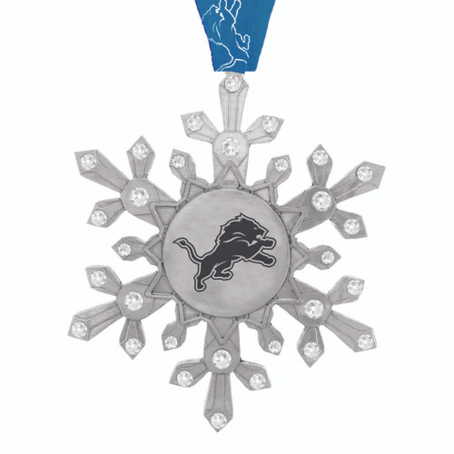Detroit Lions Snowflake Collectible Ornament Wendell August