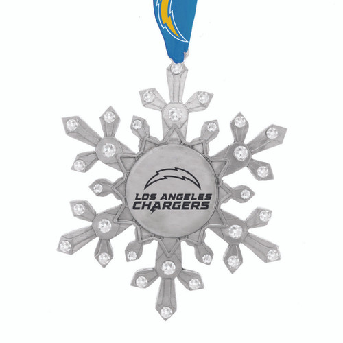 Los Angeles Chargers Snowflake Collectible Ornament Wendell August