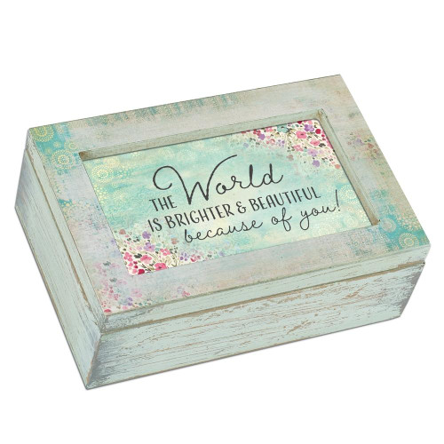 World Is Beautiful Because Of You Musical Jewelry Box Wendell August