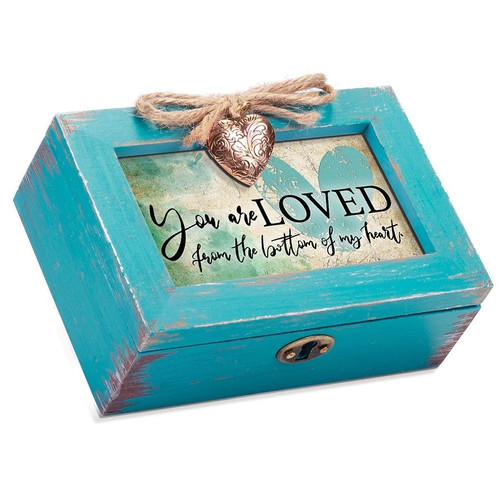 You Are Loved Petite Teal Distressed Locket Music Box Wendell August