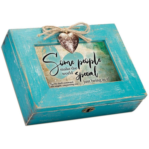 Some People Teal Distressed Locket Music Box Wendell August