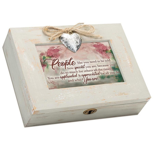 People Like You Natural Distressed Locket Music Box Wendell August