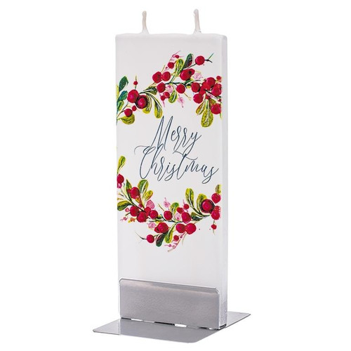 Flat Handmade Candle - Merry Christmas Wreath With Berries Wendell August