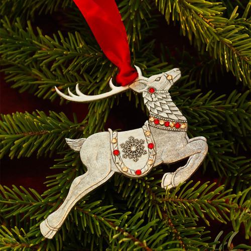 Merry Reindeer Ornament (Aluminum)