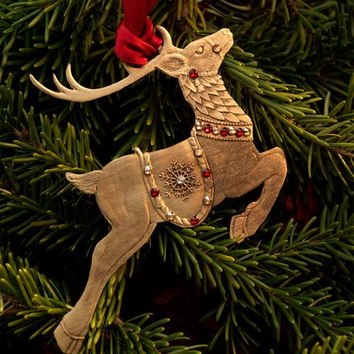 Merry Reindeer Ornament (Bronze)