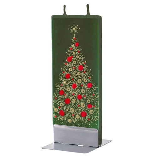 Flat Handmade Candle - Gold Christmas Tree On Green Wendell August