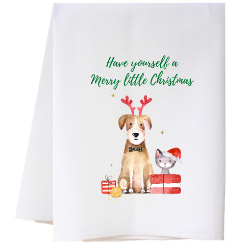 Christmas Dog and Cat Flour Sack Towel Wendell August