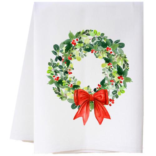 Christmas Wreath Flour Sack Towel Wendell August