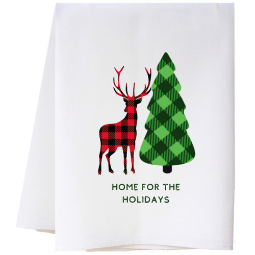 Checked Deer and Tree Flour Sack Towel Wendell August
