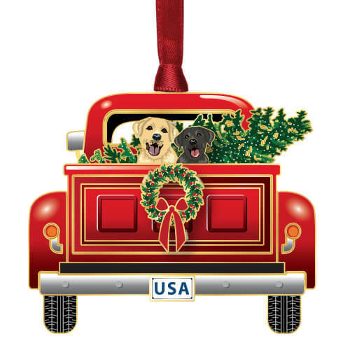 Holiday Pickup Truck Ornament Wendell August