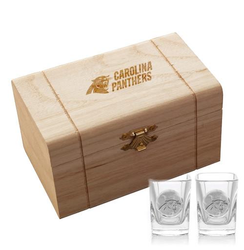 Carolina Panthers 2-Piece Shot Glass Set and Box (Aluminum)
