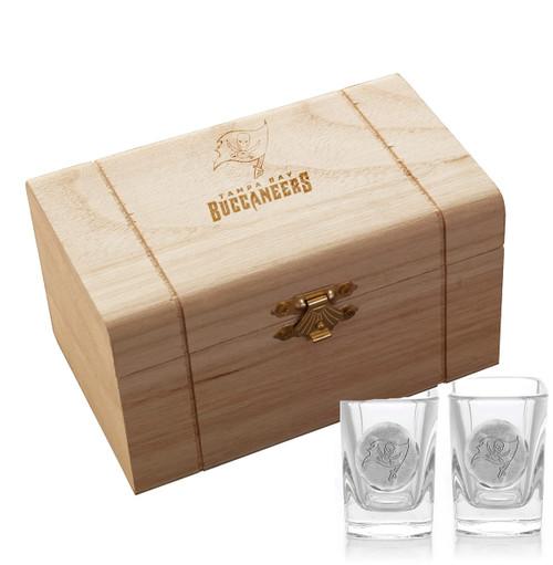 Tampa Bay Buccaneers 2-Piece Shot Glass Set and Box (Aluminum)
