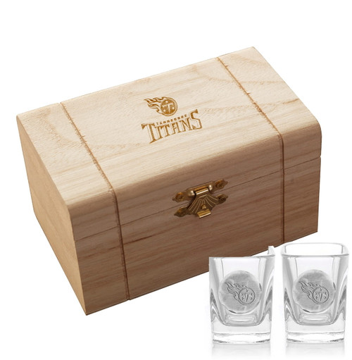 Tennessee Titans 2-Piece Shot Glass Set and Box (Aluminum)