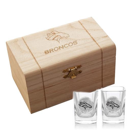 Denver Broncos 2-Piece Shot Glass Set and Box (Aluminum)