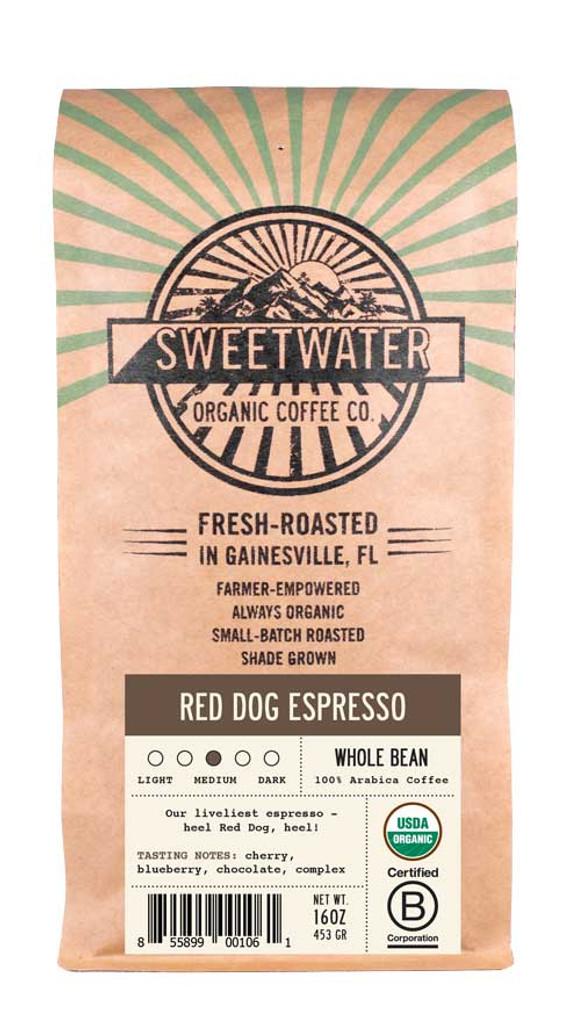 Red Dog Espresso Full City Roast Fair Trade Organic Coffee