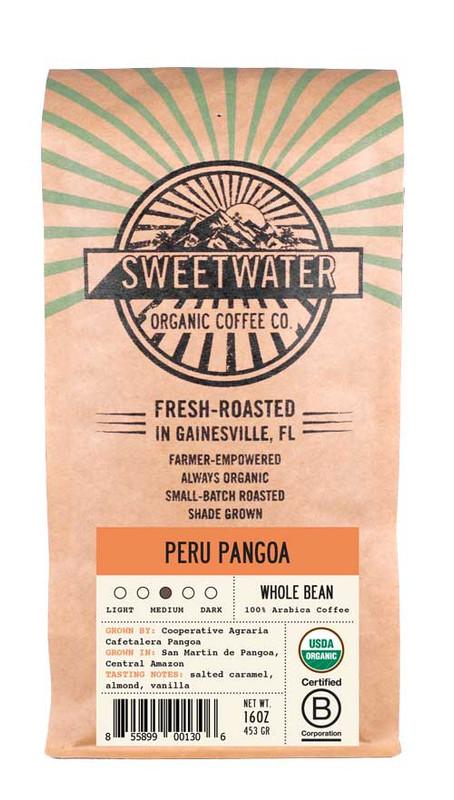 Fair trade, organic, shade-grown coffee from CAC Pangoa in the Amazonia region of Peru.