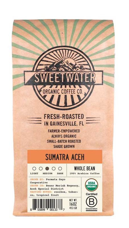 Fair trade, organic, shade-grown coffee from the Permata Gayo Cooperative in Sumatra, Indonesia.