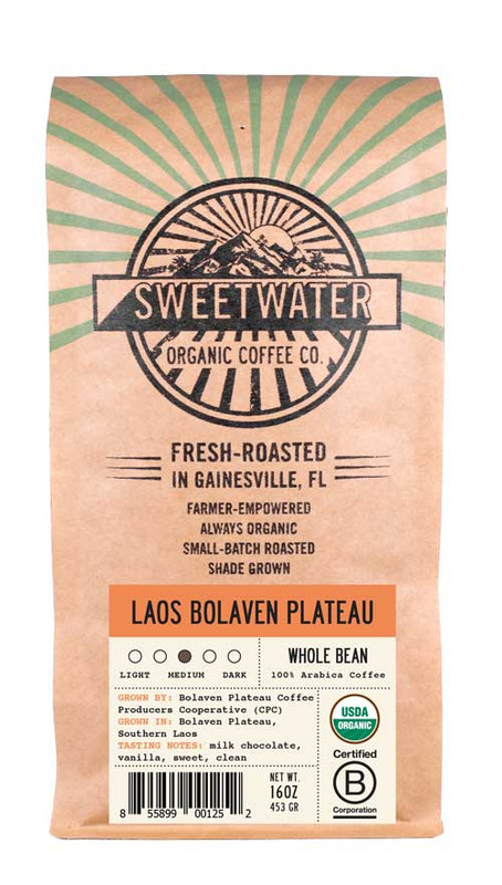 Sweet and balanced fair trade, organic, shade-grown coffee cultivated by small-scale farmers of the Bolaven Plateau Coffee Producers Cooperative in Laos.