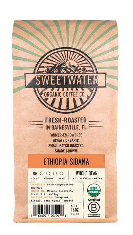Our Ethiopia Sidama light roast features sweet chocolate, lemondrop candy, and floral notes interweaving to create an overall flavor that is clean, delicious, and exciting fair trade, organic, shade-grown coffee.