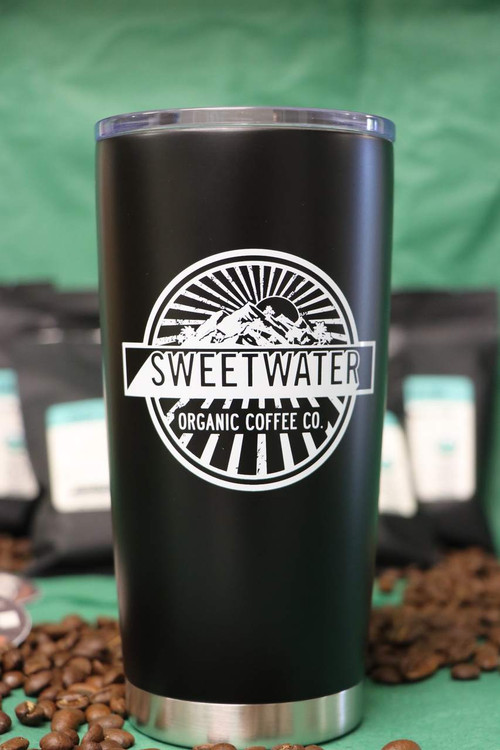 20 oz. Stainless Steel Insulated Tumbler with Sweetwater Organic Coffee's logo.