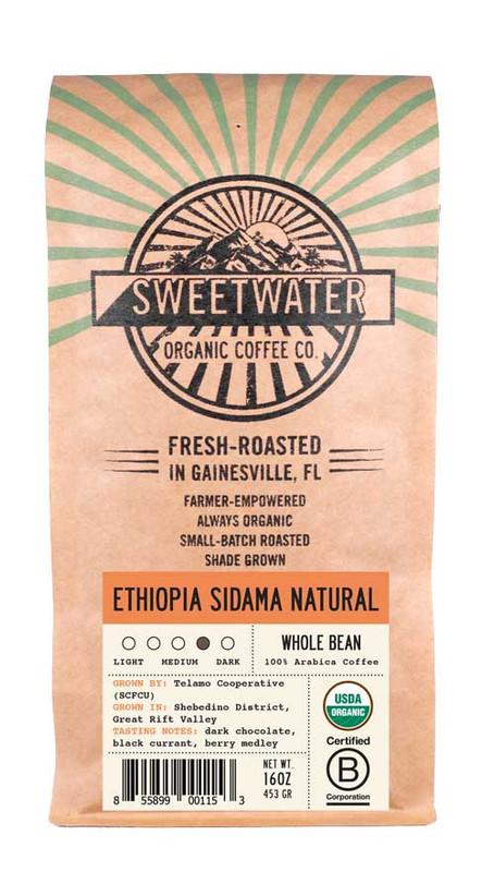 Ethiopia Sidama Natural Full City Roast Fair Trade Organic Coffee