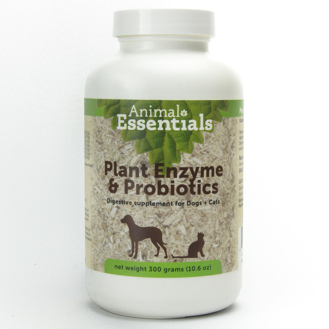All natural digestive aid with plant enzymes and probiotics. This product assists in the digestion and absorption of nutrients which are necessary to maintain good health. It relieves the extra burden placed on the digestive system, as this product breaks down fats, carbohydrates, cellulose and protein. Enzyme and probiotic supplementation is a good preventive measure to ensure good health. No lactose, sugars, or preservatives.  Digestive enzymes are special types of protein molecules that catalyze the breakdown of food into components that can be utilized by the body. These proteins are not stored in the body but are released based on the anticipation aroma or actual presence of food in the digestive system. Because they are not stored they must be taken with each meal, preferably with the food. Animal Essential's enzymes contain a blend of plant and microbial produced enzymes. None of them are from animal sources.  Each enzyme is highly specific as to the class of food it works on and the temperature and pH of its effective range of activity. Animal derived enzymes will work in only one area of the digestive system, while plant and microbial enzymes work throughout the whole system, from mouth through the stomach into the intestines. As the body ages less enzymes are produced and supplementation is necessary to assure optimum health.  To maintain optimum health in an animal it needs to be fed an optimum diet, but also needs to have digestive efficiency necessary to assimilate the food ingredients. The digestive efficiency can be reduced by stress of any sort, excitement , anxiety (travel separation, working stress and so on). To insure optimum digestion and health we recommend the addition of this supplement to each meal. For optimum utilization the supplement should be added to the food and should be moistened shortly before feeding to be effective.  Since Animal Essential's enzymes are derived from plant and microbial sources they are active throughout the whole