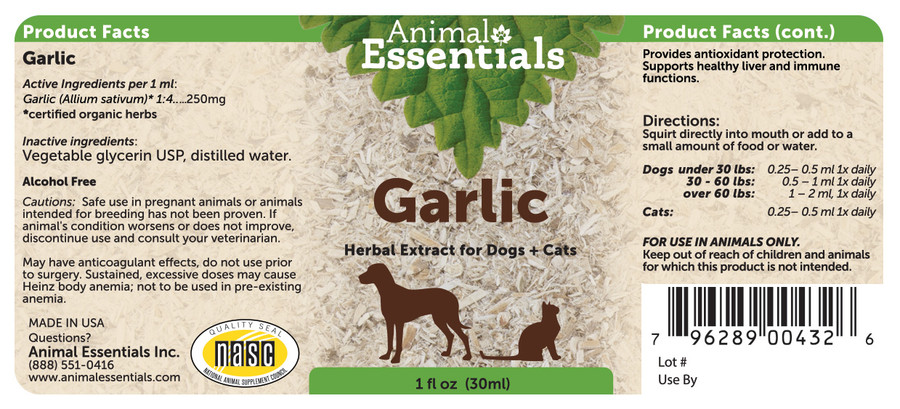 Garlic tincture for Dogs & Cats by Animal Essentials