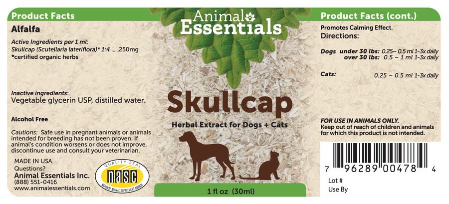 Skullcap tincture for dogs and cats by Animal Essentials