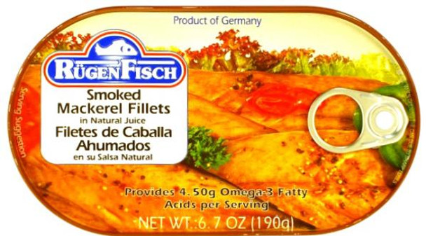 RUGENFISCH SMOKED MACKEREL FILLETS 190g