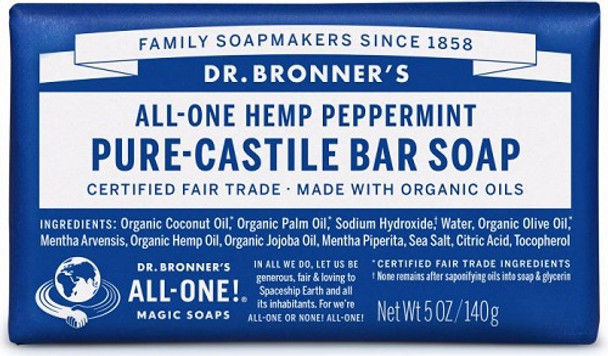 DR BONNER HEMP PEPPERMINT SOAP 140g