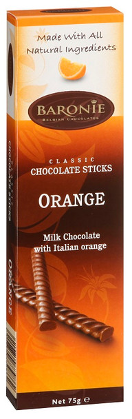 BARONIE ORANGE CHOCOLATE STICKS 75g