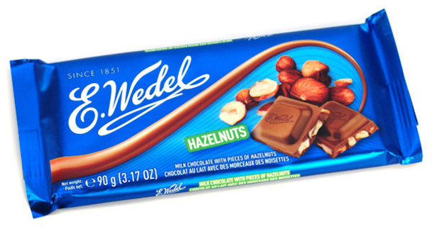 E. WEDEL HAZELNUT FILLED MILK CHOCOLATE BAR 100g