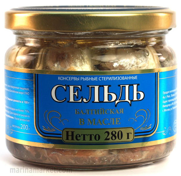 RIGA SMOKED HERRING IN OIL GLASS JAR 280g