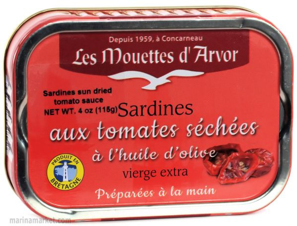LES MOUETTES d' ARVOR SARDINES IN EVOO SUN DRIED TOMATO 115g