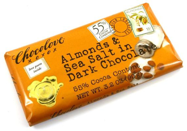 CHOCOLOVE ALMONDS & SEA SALT IN 55% DARK CHOCOLATE 88g