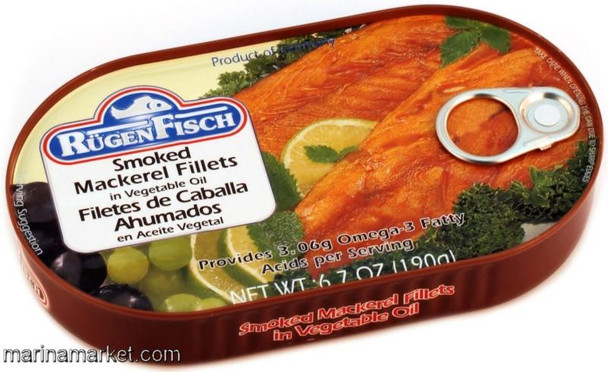 SMOKED MACKEREL FILLETS IN VEGETABLE OIL 190g